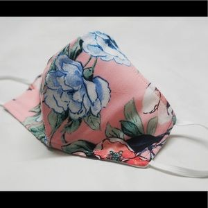 Handmade Pink, Blue Rose Face Mask